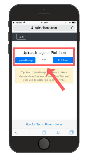 Upload photo or select icon