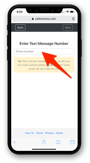 Enter contact phone number